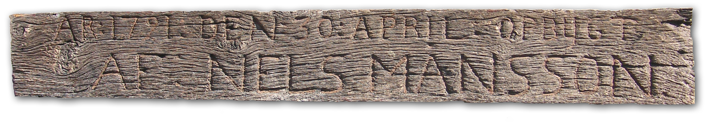 Nels Månsson's wooden sign from 1721.