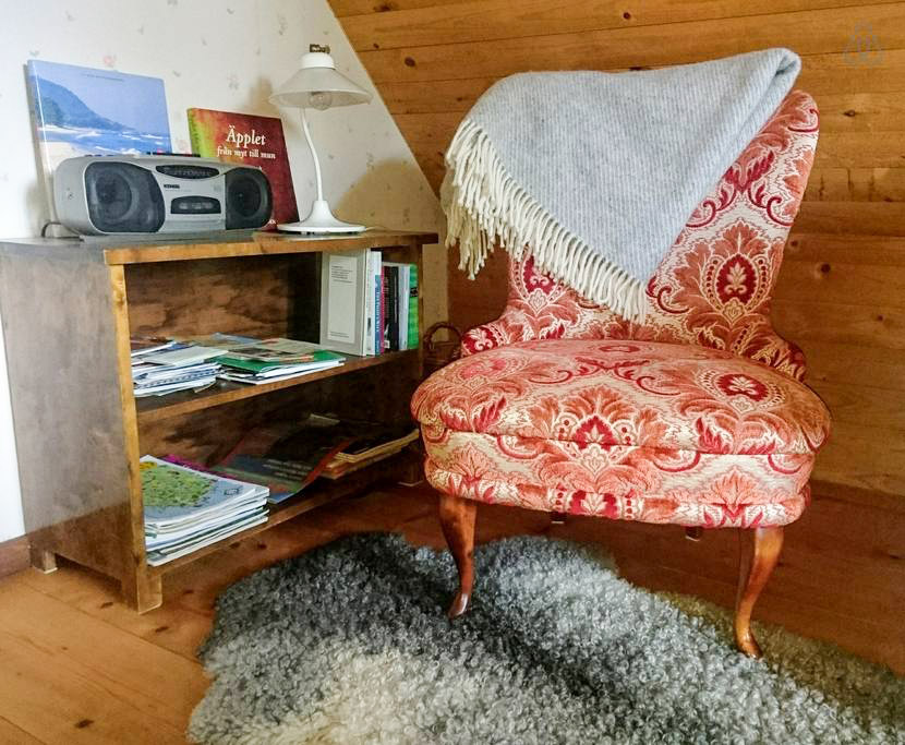 A cozy easy-chair for relaxed reading.