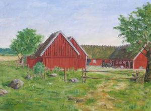 Oljemålning av Källagården från 1939 signerad G.C., en släkting till tidigare ägarna Emil och Hilma Nilsson.