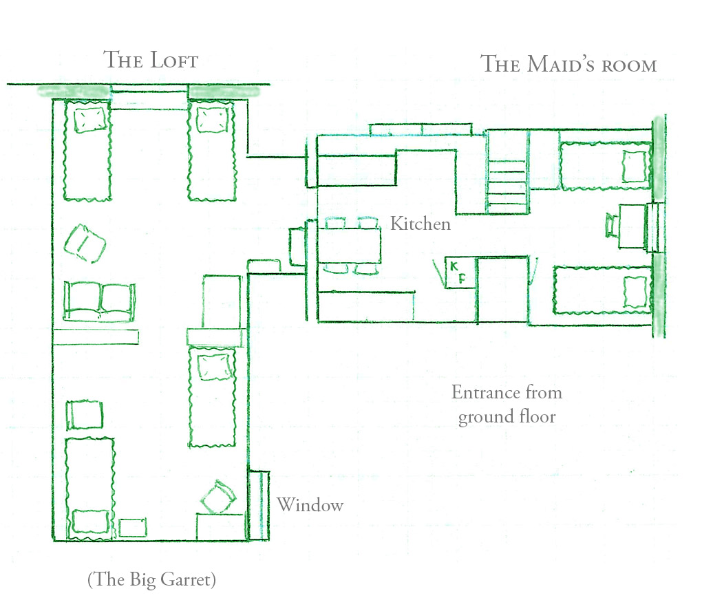 Interior planning for the loft and the maid's room.