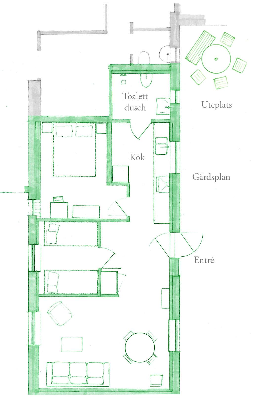 Planlösning för Lilla gårdslägenheten.